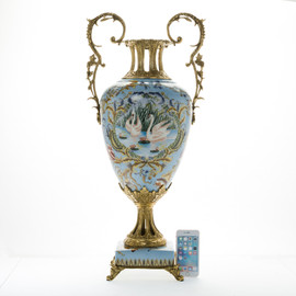***Lyvrich d'Elegance, Blue Porcelain and Gilded Dior Ormolu | Swan Lake, Duck, Geese Potiche Vase | Trophy Cup #1 | Statement Centerpiece | 30.34t X 13.95w X 10.64d | 6350