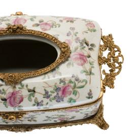 #Lyvrich d'Elegance, Porcelain and Gilded Dior Ormolu   Crackle   Tissue Box Centerpiece   4.73t X 11.62L X 6.34d   6355