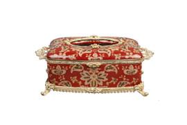 #Lyvrich d'Elegance, Porcelain and Gilded Dior Ormolu   Crackle   Tissue Box Centerpiece   4.73t X 11.62L X 6.34d   6358