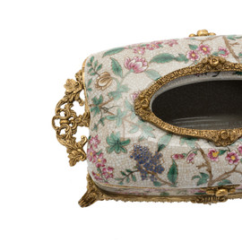 ***Lyvrich d'Elegance, Porcelain and Gilded Dior Ormolu | Crackle | Tissue Box Centerpiece | 4.73t X 11.62L X 6.34d | 6360 | Purple, Peach, Pink Floral and Greenery