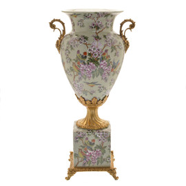 ***Lyvrich d'Elegance, Crackle Porcelain and Gilded Dior Ormolu | Pink Blossoms and Pretty Birds | Potiche Vase on Plinth | Trophy Cup #2 | Statement Centerpiece | 21.67t X 11.74w X 8.43d | 6366