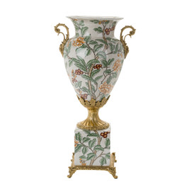 #Lyvrich d'Elegance, Crackle Porcelain and Gilded Dior Ormolu | Orange Blossoms, Berries and Greenery | Potiche Vase on Plinth | Trophy Cup #2 | Statement Centerpiece | 21.67t X 11.74w X 8.43d | 6367