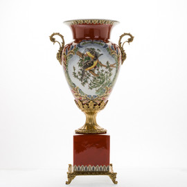 #Lyvrich d'Elegance, Porcelain and Gilded Dior Ormolu | Long Beaked Parrot and Rouge | Potiche Vase on Plinth | Trophy Cup #2 | Statement Centerpiece | 21.67t X 11.74w X 8.43d | 6368