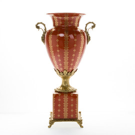 ***Lyvrich d'Elegance, Porcelain and Gilded Dior Ormolu | Red and Gold Neo-Classical | Potiche Vase on Plinth | Trophy Cup #2 | Statement Centerpiece | 21.67t X 11.74w X 8.43d | 6369
