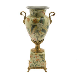 #Lyvrich d'Elegance, Porcelain and Gilded Dior Ormolu | Large Flowers and Greenery | Potiche Vase on Plinth | Trophy Cup #2 | Statement Centerpiece | 21.67t X 11.74w X 8.43d | 6370