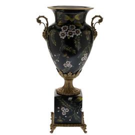 #Lyvrich d'Elegance, Handpainted Porcelain and Gilded Dior Ormolu | Fleurs rose sur le noir | Potiche Vase on Plinth | Trophy Cup #2 | Statement Centerpiece | 21.67t X 11.74w X 8.43d | 6371