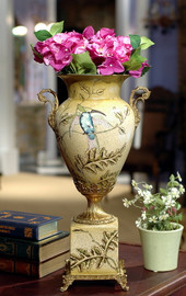 ***Lyvrich d'Elegance, Handpainted Porcelain and Gilded Dior Ormolu | Potiche Vase on Plinth | Trophy Cup #2 | Immense Statement Centerpiece | 21.67t X 11.74w X 8.43d | 6372