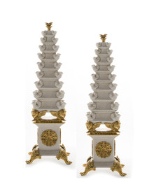 #Lyvrich d'Elegance, Crackled Porcelain and Gilded Dior Ormolu | Tulip, Display Vases | Extraordinary Pair of Statement Centerpieces | 24.03t X 8.08w X 8.08d | 6375