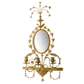 """#Lyvrich d'Elegance, Gilded Dior Ormolu, Taper Candle, Girandole Mirror, Wall Sconce Candle Holder, Light & Airy, 33.69""""t X 17.52""""w X 6.11""""d, 6384"""