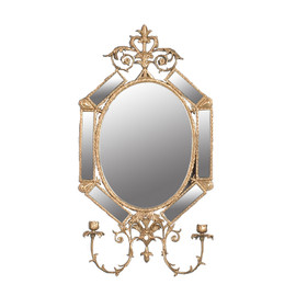 """#Lyvrich d'Elegance, Gilded Dior Ormolu, Taper Candle, Girandole Mirror, Wall Sconce Candle Holder, Octagon, 31.52""""t X 16.61""""w X 5.12""""d, 6385"""