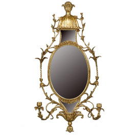 """#Lyvrich d'Elegance, Gilded Dior Ormolu, Taper Candle, Girandole Mirror, Wall Sconce Candle Holder, Oval, 33.77""""t X 17.61""""w X 6.30""""d, 6386"""