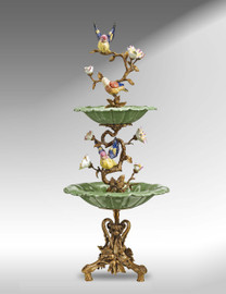 ***Lyvrich d'Elegance, Crackled Porcelain and Gilded Dior Ormolu | Vertical Tiered Sculptural Bowl | Extraordinary Statement Centerpiece | 29.59t X 12.13w X 12.13d | 6387