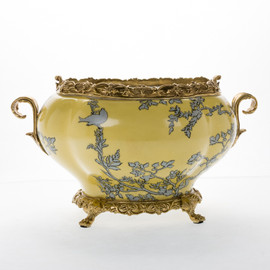 #Lyvrich d'Elegance, Porcelain and Gilded Dior Ormolu | Abstract Chinoiserie, Gold & Silver Planter | Statement Bowl | Enormous Centerpiece | 8.67t X 14.97L X 10.65d | 6388