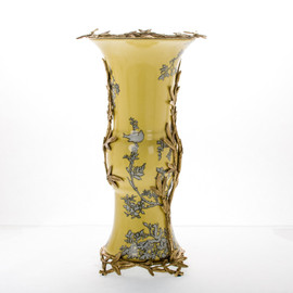 #Lyvrich d'Elegance, Crackled Porcelain and Gilded Dior Ormolu | Abstract Chinoiserie, Gold & Silver Display Vase | Fantastic Statement Centerpiece | 19.90t X 10.56w X 10.56d | 6390
