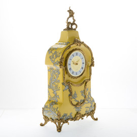 Lyvrich d'Elegance, Crackled Porcelain and Gilded Dior Ormolu - Abstract Chinoiserie, Gold & Silver Mantel, Table Clock - Fantastic Statement Centerpiece - 24.03t X 11.62w X 5.91d - 6392