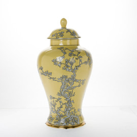 ***Lyvrich d'Elegance, Porcelain and Gilded Dior Ormolu | Abstract Chinoiserie, Gold & Silver Jar | Fantastic Covered Urn Centerpiece | 20.29t X 11.30w X 11.30d | 6393