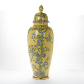 #Lyvrich d'Elegance, Porcelain and Gilded Dior Ormolu | Abstract Chinoiserie, Gold & Silver Jar | Fantastic Covered Urn Centerpiece | 33.10t X 11.74w X 11.74d | 6394
