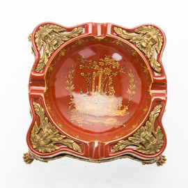 ***Lyvrich d'Elegance, Porcelain and Gilded Dior Ormolu | Glen Cove, Warm Red and Gold Jeweled Chinoiserie | Tray, Cigar Ashtray, Centerpiece | 4.65t X 10.52L X 10.52d | 6401