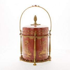 #Lyvrich d'Elegance, Porcelain and Gilded Dior Ormolu | Glen Cove, Connoisseur Ice Bucket, Wine, Champagne Cooler | Warm Red and Gold Jeweled Chinoiserie | 16.74t X 11.35w X 11.35d | 6405
