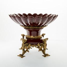 #Lyvrich d'Elegance, Dark Polished Porcelain and Gilded Dior Ormolu | Fruit Bowl, Compotier Dish | Centerpiece | 12.45t X 15.75w X 15.75d | 6406