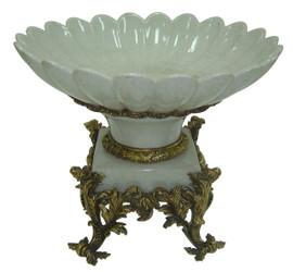 ***Lyvrich d'Elegance, Light Crackled Porcelain and Gilded Dior Ormolu | Fruit Bowl, Compotier Dish | Centerpiece | 12.45t X 15.75w X 15.75d | 6407