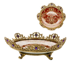 ***Lyvrich d'Elegance, Porcelain and Gilded Dior Ormolu | Jeweled Pattern | Centerpiece Display Plate | 3.55t X 12.77w X 12.77d | 6408