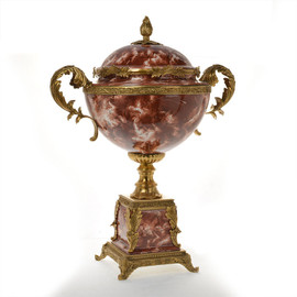 ***Lyvrich d'Elegance, Red, Rose, Burgundy, Porcelain and Gilded Dior Ormolu | Towering Covered Jar | Urn on Plinth, Centerpiece | 33.57t X 26.99w X 17.73d | 6412