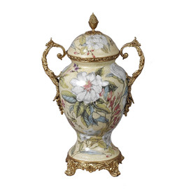 ***Lyvrich d'Elegance, Porcelain and Gilded d'oro Brass | Covered Jar | Urn Centerpiece | 15.56t X 10.32w X 6.86d | 6414