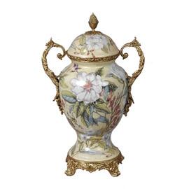 #Lyvrich d'Elegance, Porcelain and Gilded d'oro Brass | Covered Jar | Cassolette Urn Centerpiece | 15.56t X 10.32w X 6.86d | 6414