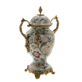 #Lyvrich d'Elegance, Porcelain and Gilded d'oro Brass | Covered Jar | Urn Centerpiece | 15.56t X 10.32w X 6.86d | 6415