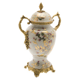 #Lyvrich d'Elegance, Crackle Porcelain and Gilded d'oro Brass | Covered Jar | Urn Centerpiece | Pastel Watercolor Flowers & d'or Gold | 15.56t X 10.32w X 6.86d | 6417