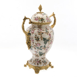 ***Lyvrich d'Elegance, Porcelain and Gilded d'oro Brass | Covered Jar | Urn Centerpiece | 15.56t X 10.32w X 6.86d | 6418