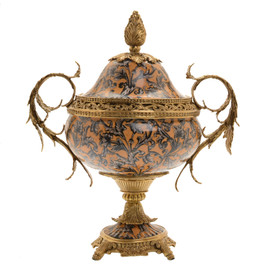 #Lyvrich d'Elegance, Porcelain and Gilded d'oro Brass | Covered Jar | Cassolette Urn Centerpiece | 18.91t X 16.74w X 11.03d | 6420