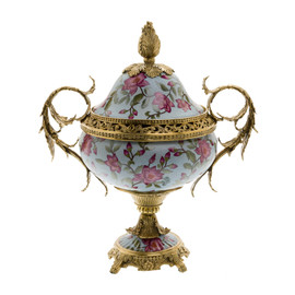 #Lyvrich d'Elegance, Porcelain and Gilded d'oro Brass | Covered Jar | Cassolette Urn Centerpiece | 18.91t X 16.74w X 11.03d | 6421