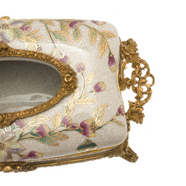 Lyvrich d'Elegance, Crackle Porcelain and Gilded d'oro Brass   Pastel Watercolor Flowers & d'or Gold   Tissue Box Centerpiece   4.73t X 11.62L X 6.34d   6423