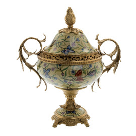 ***Lyvrich d'Elegance, Porcelain and Gilded d'oro Brass | Lis et Papillons | Covered Jar | Urn Centerpiece | 18.91t X 16.74w X 11.03d | 6424