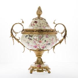Lyvrich d'Elegance, Porcelain and Gilded d'oro Brass   Oiseaux, Fleurs Roses Délicates et Papillons   Covered Jar   Urn Centerpiece   18.91t X 16.74w X 11.03d   6425