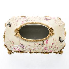 Lyvrich d'Elegance, Porcelain and Gilded d'oro Brass   Oiseaux, Fleurs Roses Délicates et Papillons   Tissue Box Centerpiece   5.71t X 12.21L X 7.49d   6426