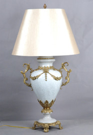 Lyvrich d'Elegance, Porcelain and Gilded Dior Ormolu | Crackle, White?, Off-White? | Table Lamp Centerpiece | 32.50t X 18.44w X 12.02d | 6428