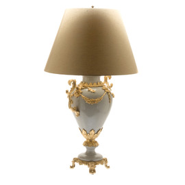 Lyvrich d'Elegance, Porcelain and Gilded Dior Ormolu | Crackle, White?, Off-White? | Table Lamp Centerpiece | 32.50t X 18.44w X 12.02d | 6429