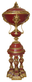 Lyvrich d'Elegance, Porcelain and Gilded d'oro Brass | Solid Red?, Oxblood?, Burgundy?, Covered Jar | 65.40t X 24.03w X 24.03d | 6431