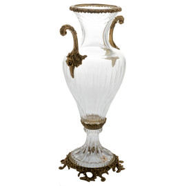 Lyvrich d'Elegance, Cut Crystal and Gilded d'or Brass Ormolu | Trophy Cup | Centerpiece Flower Vase | 16.67t X 9.38w X 6.23d | 6432