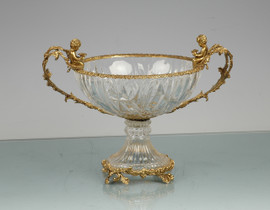 Lyvrich d'Elegance, Cut Crystal and Gilded d'or Brass Ormolu Trim | Compote Fruit Bowl | Centerpiece Dish | 16.86t X 13.00w X 12.33d | 6436
