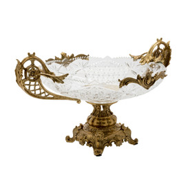 Lyvrich d'Elegance | Cut Crystal and Gilded d'or Brass Ormolu Trim | Fancy Compote Fruit Bowl | Centerpiece Dish | 14.81t X 20.41w X 11.23d | 6437