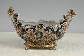 Lyvrich d'Elegance, | Handmade Flower Pot, Statement Planter Centerpiece | Porcelain and Gilded Ornamental, Dragonfly Dior Ormolu, | Unspecified Pattern, Black, Salmon Pink, and Green, | 9.85t X 14.74L X 8.98d | 6441