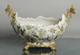 Lyvrich d'Elegance, | Handmade Flower Pot, Statement Planter Centerpiece | Porcelain and Gilded Ornamental, Dragonfly Dior Ormolu, | Unspecified Pattern, Dark Blue, Salmon Pink, Green and Gold, | 9.85t X 14.74L X 8.98d | 6442