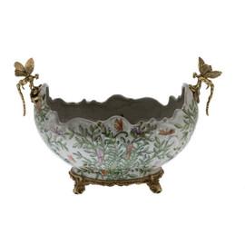 Lyvrich d'Elegance, | Handmade Flower Pot, Statement Planter Centerpiece | Porcelain and Gilded Ornamental, Dragonfly Dior Ormolu, | Unspecified Pattern, Green, Purple and Orange Butterflies, | 9.85t X 14.74L X 8.98d | 6443