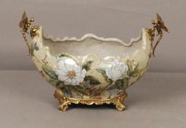 Lyvrich d'Elegance, | Handmade Flower Pot, Statement Planter Centerpiece | Porcelain and Gilded Ornamental, Dragonfly Dior Ormolu, | Unspecified Pattern, Oversize Flowers, | 9.85t X 14.74L X 8.98d | 6444