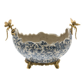 Lyvrich d'Elegance, | Handmade Flower Pot, Statement Planter Centerpiece | Porcelain and Gilded Ornamental, Dragonfly Dior Ormolu, | Blue and White, Tan Fractured, Fruits, | 9.85t X 14.74L X 8.98d | 6446