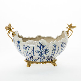 ***Lyvrich d'Elegance,   Handmade Flower Pot, Statement Planter Centerpiece   Porcelain and Gilded Ornamental, Dragonfly Dior Ormolu,   Blue and White, Tan Fractured, Winter,   9.85t X 14.74L X 8.98d   6448